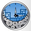 Clock with gears mechanism and morning city. Vector illustration.