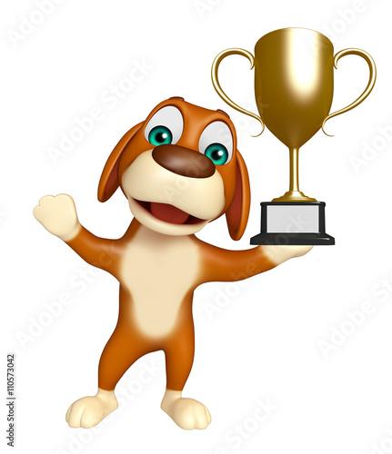 Foto auf AluDibond Ziehen cuteDog cartoon character with winning cup