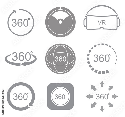 Fotografia  360 degrees view sign icon