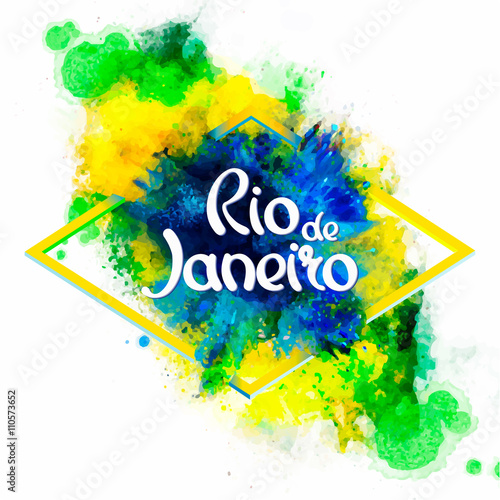 Inscription Rio de Janeiro on background watercolor stains Poster