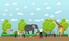 Zoo Concept Banner. People Vis...