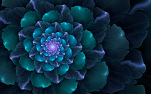 Abstract Fractal, Glossy Blue-cyan Decorative Flower Bloom On Dark Background