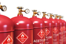 Row Of Liquefied Acetylene Industrial Gas Containers