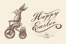Easter Bunny Riding Bike With ...