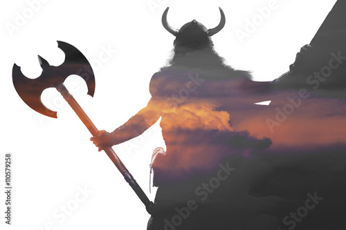 Double exposure portrait of a strong viking Wallpaper Mural