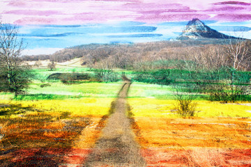 Obraz Fantastic watercolor landscape, the road to the top, made with c