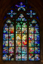 Alphonse Mucha Stained Glass Window In St Vitus Cathedral In Prague