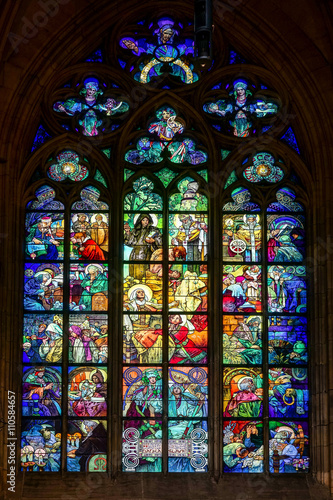 Photo  Alphonse Mucha Stained glass window in St Vitus Cathedral in Prague