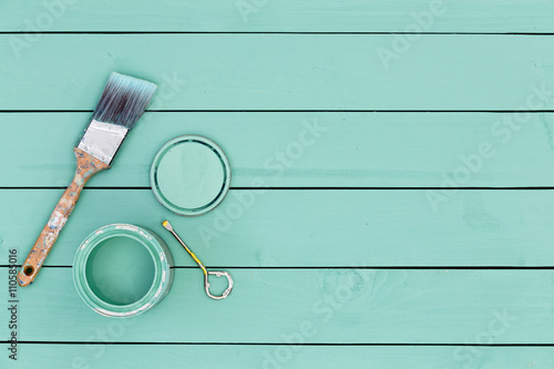 Fotografie, Obraz  Colorful fresh green stained wooden boards