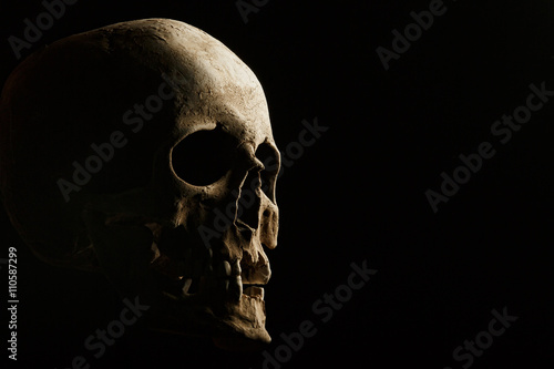 Photo hand holding a skull is isolated on black background