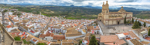 Panorama of Olvera and Cathedral seen from the Castle of the famous village de la Ruta de los Pueblos Blancos, white villages, between Cadiz and Malaga, Andalusia, Spain.