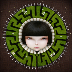 Conceptual  illustration with girl with  fantasy collar green maze