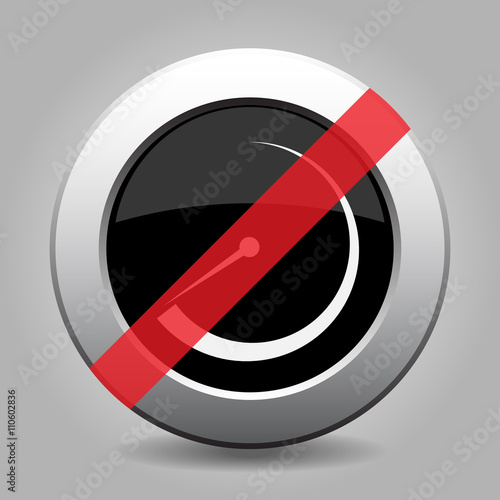 Fotografia, Obraz  gray chrome button - no dial symbol