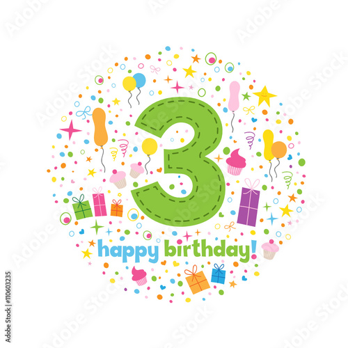 HAPPY 3rd BIRTHDAY Card In How Chunky Font With Motifs