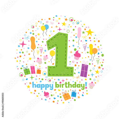 Happy 1st Birthday Card In How Chunky Font With Motifs Buy This