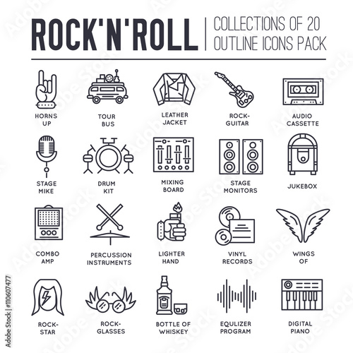 d14cdeb55 ROCK N ROLL circle outline icons collection set. Music equipment linear  symbol pack. Modern template of thin line icons, logo, symbols, pictogram  and flat
