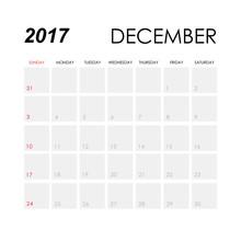 Template Of Calendar For December 2017