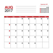 Template Of Calendar For August 2017