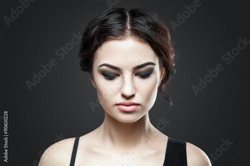 Fototapety, obrazy: Portrait of beautiful female model on gray background