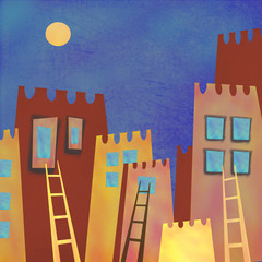 Naklejka Colorful abstract skyscrapers city at night. Interior decor. Hand-drawn night abstract architecture with moon on the sky