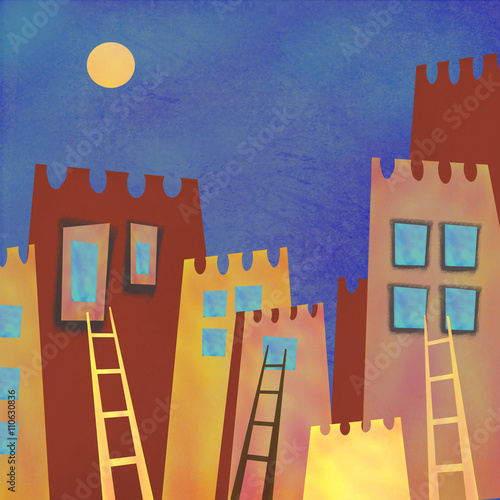 Colorful abstract skyscrapers city at night. Interior decor. Hand-drawn night abstract architecture with moon on the sky - 110630836