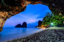 Famous Phranang Cave At Raylay Railay Beach, Krabi : Thailand