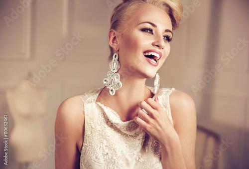 Printed kitchen splashbacks Artist KB Closeup portrait of an elegant, smiling woman