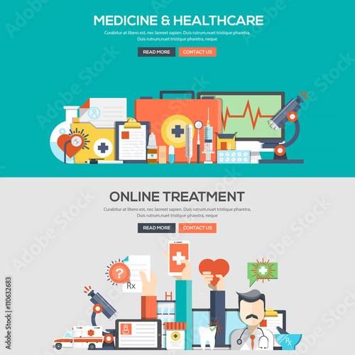Fotografia  Flat design concept banner - Medicine and Healthcare