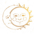 Hand drawn sun with moon