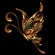 Patterned Golden butterfly. African / indian / totem / tattoo design. It may be used for design of a t-shirt, bag, postcard and poster.