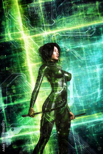 futuristic girl cyberpunk - 110635672