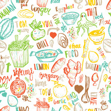 Thai Food Seamless Hand Drawn Rough Pattern. Thai Sketches. Vector Isolated On White Background For Cafe Menu, Banners, Chalkboards