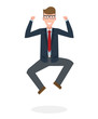 Businessman jumping in the air on white background. Concept of victory, business success and celebrating. Isolated happy caucasian businessman is excited.