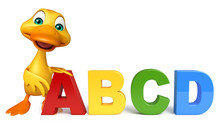 Duck Cartoon Character With ABCD Sign