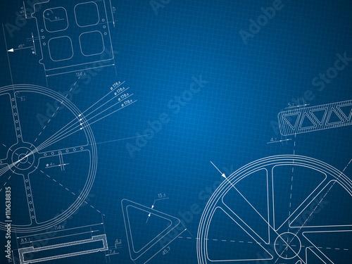 Fotografie, Obraz  abstract blue print gear technology background