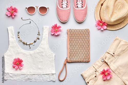 Photo  Summer Fashion girl clothes set. Street style