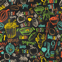 Thai Food Seamless Hand Drawn Rough Pattern. Thai Sketches. Vector Isolated On Dark Background For Cafe Menu, Banners, Chalkboards