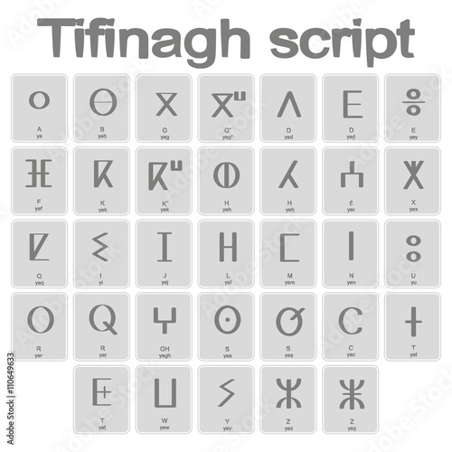 Photo Set of monochrome icons with Tifinagh script for your design