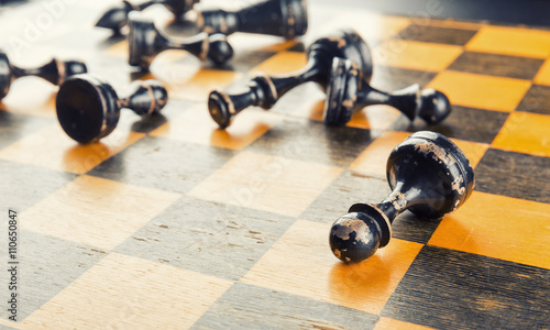 Chess figures defeated Wallpaper Mural