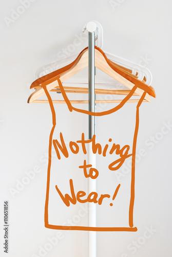 Staande foto Dragen Nothing To Wear Design Concept Empty Wooden Coat