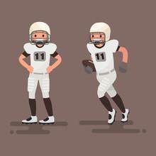 American Football. Player Posing, Player Is Running. Vector Illustration