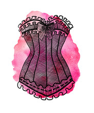 Corset On Watercolor Pink Back...