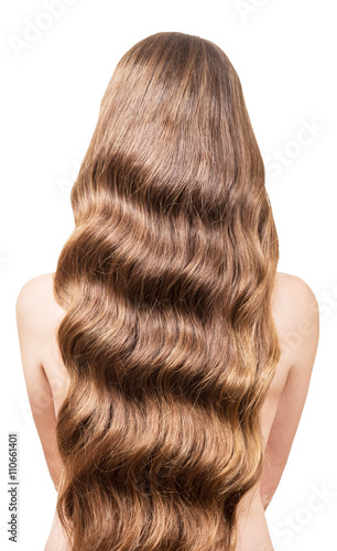 Beautiful, flowing long wavy hair on  back  young girl Canvas Print