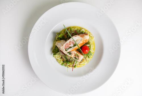 Fotografie, Obraz  Chicken rolls with risotto