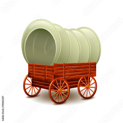 Fotografía  Old wagon isolated on white vector