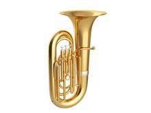 Aged Tuba Isolated On White Ba...