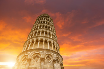 Obraz na Szkle Miasta Leaning tower and the cathedral baptistery, Italy