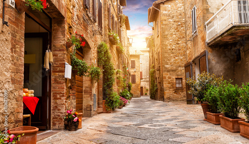 Colorful street in Pienza, Tuscany, Italy - 110671099