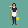Housewife girl homemaker cleaning woman. Peoples profession team vector illustration