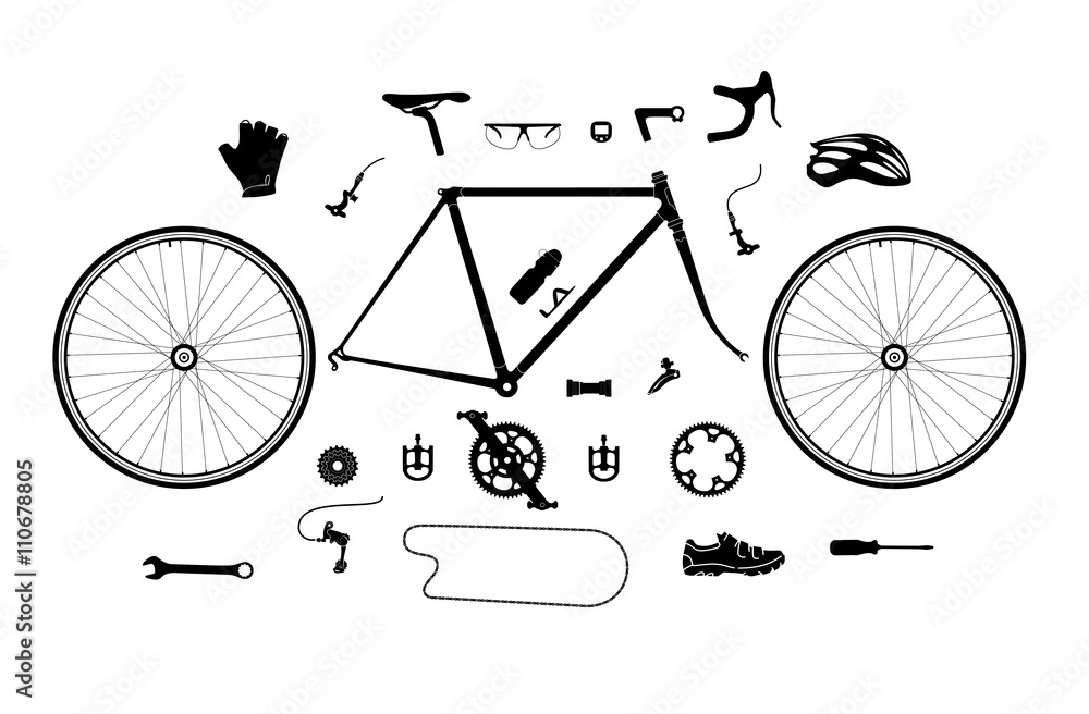 Fototapeta Road bicycle parts and accessories silhouette set, elements for infographic, etc